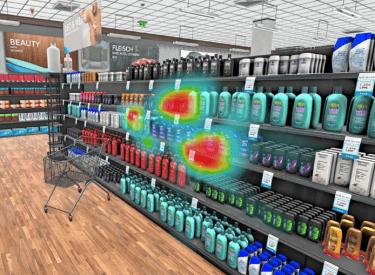 Virtuelle Realität: Die Heatmap zeigt, welche Produkte den Konsumenten im 3D-Supermarkt ansprechen.