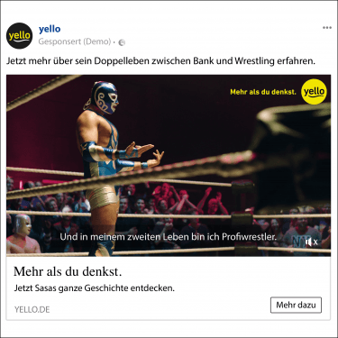 """Facebook-Ad von pilot im Rahmen der Yello-Kampagne """"Mehr als du denkst"""""""