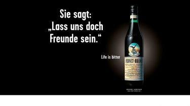 "pilot entwickelte provokante Motive für die Fernet-Branca-Kampagne ""Life is bitter"""