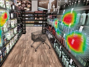 Mittels Heatmaps können – wie hier im virtuellen Supermarkt von pilot – Verhaltensaktivitäten von Konsumenten erforscht werden.