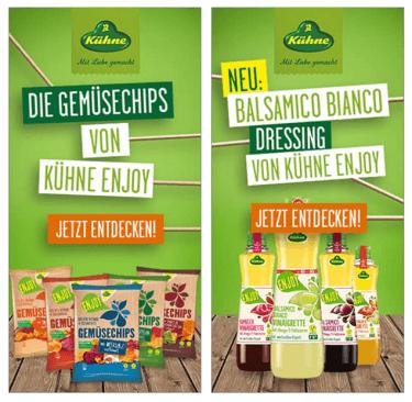 """Display Werbung: Wir platzieren die Dressings & Chips der Kühne-Subbrand """"ENJOY"""" reichweitenstark"""