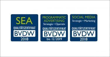 pilot wurde mit den BVDW-Zertifikaten in den Bereichen SEA, Programmatic Advertising und Social Media zertifiziert