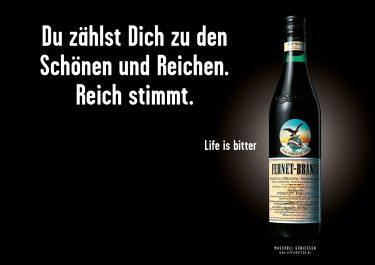 Life is bitter-Kampagne: Düsseldorfer Motiv für Fernet-Branca