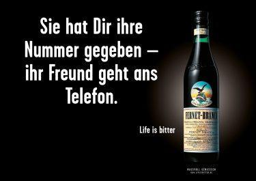 Life is bitter-Kampagne: Out-of-Home-Motiv für Fernet-Branca